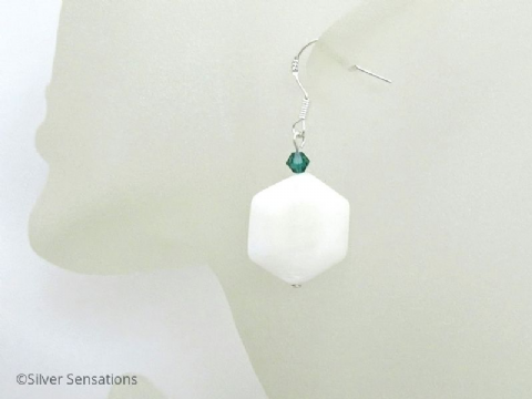 White Hexagonal River Shell, Green Swarovski Crystal & Sterling Silver Earrings